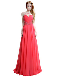 Formal Evening Dress Sheath / Column Straps Sweep / Brush Train Chiffon with Beading Side Draping
