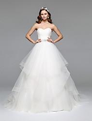 LAN TING BRIDE A-linje Bryllupskjole Simpelthen elegant Gulvlang Stroppeløs Tyll med Perlearbeid Krystall