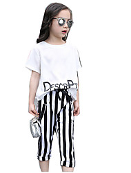 Girls' Casual/Daily Striped Sets,Cotton Rayon Summer Short Sleeve Clothing Set