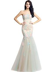 Evento Formal Vestido Sereia Tomara que Caia Longo Renda Tule com Renda