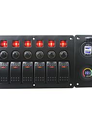 iztoss röd lysdiod 12V 6 gäng on-off rocker växla böjd panel ledde 3.1a USB 12v voltmeter uttag och strömbrytare med etikett klistermärken
