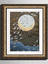 Abstraktní Krajina Kanvas v rámu Set v rámu Wall Art,PVC Materiál Zlatá Bez pasparty s rámem For Home dekorace rám Art