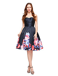 TS Couture Cocktail Party Dress - Open Back Pattern Dress Ball Gown Sweetheart Knee-length Satin with Pleats