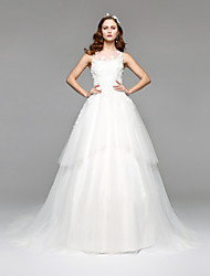 LAN TING BRIDE Linea-A Vestito da sposa Semplicemente divina Lungo Con decorazione gioiello Di pizzo Tulle con Di pizzo