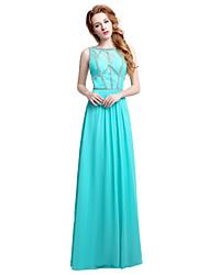 Vestito da sera convenzionale del vestito da sera / colonna pavimento-lunghezza del chiffon del pavimento con perline