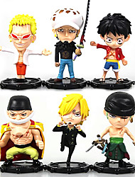 Anime Action Figures Inspired by One Piece Monkey D. Luffy PVC 10 CM Model Toys Doll Toy Trafalgar Law 6PCS