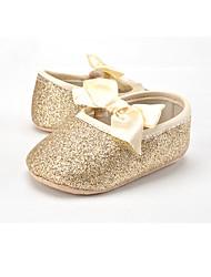 Barn-Glitter Tekstil-Flat hæl-Første gåsko-Flate sko-Bryllup Friluft Formell Fritid Fest/aften-Gull Sølv Lysebrun