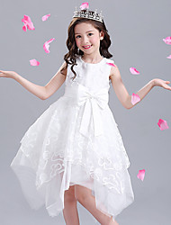 Ball Gown Asymmetrical Flower Girl Dress - Cotton Satin Tulle Jewel with Appliques Bow(s) Sash / Ribbon