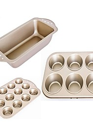 Three pieces set 6 cups big size muffin /12cups small size muffin /toast cake mould food grade carbon steel FDA