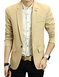 Men's Casual/Daily Work Simple Spring Fall BlazerColor Block V Neck Regular Cotton Acrylic 916650