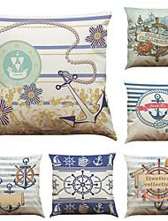 Set of 6 Nordic Style Retro Navigation Pattern Linen Pillowcase Sofa Home Decor Cushion Cover  Throw Pillow Case (18*18inch)