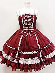 Uma-Peça/Vestidos Doce Princesa Cosplay Vestidos Lolita Cor Única Sem Mangas Longuete Vestido Para Algodão FRP