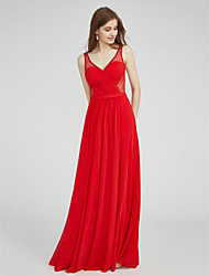 LAN TING BRIDE Floor-length V-neck Bridesmaid Dress - See Through Sleeveless Tulle