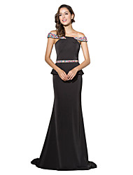 Formal Evening Dress Trumpet / Mermaid Off-the-shoulder Court Train Jersey with Beading