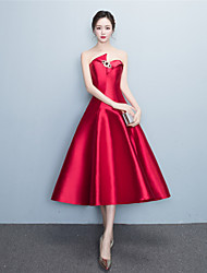 Cocktail Party Dress - Sexy A-line Sweetheart Tea-length Jersey with Crystal Detailing