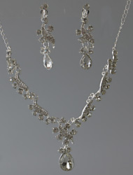 בגדי ריקוד נשים שרשרת Geometric Shape אבן נוצצת גיאומטרי תכשיטים ל חתונה Party אירוע מיוחד יום הולדת ארוסים סט1