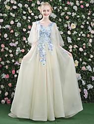 Evento Formal Vestido - Transparente Con Cordones Floral Sexy Corte en A Cuello en V Corte Encaje Satén Tul conApliques Bordados Encaje