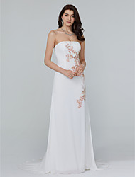 TS Couture Formal Evening Dress - Open Back Sheath / Column Strapless Sweep / Brush Train Chiffon with Appliques