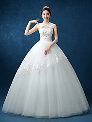 볼 드레스 웨딩 드레스 - 쉬크&모던 어깨 노출 스타일 바닥 길이 하이 넥 레이스 새틴 튤 와 비즈 레이스