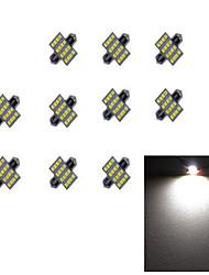 10pcs 31mm 16 * 2835 smd הוביל מכונית אור נורה לבן אור dc12v