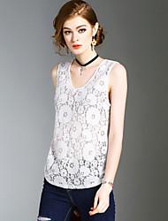 Damen Solide Sexy Einfach Street Schick Ausgehen Lässig/Alltäglich Strand T-shirt,V-Ausschnitt Sommer Ärmellos Polyester Mittel