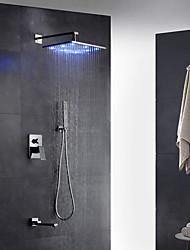 Contemporâneo Arte Deco/Retro Moderno Montagem de Parede LED Chuveiro Tipo Chuva Torneira Destacável with  Vãlvula LatãoMonocomando Dois