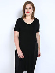 Tee-shirt Femme,Couleur Pleine Décontracté / Quotidien Vacances Grandes Tailles Sexy simple Mignon Printemps Eté Manches Courtes Col en V