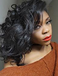 צבע שחור טבעי פאות בוב אנושיות מלאת תחרת שיער פזור גל 100% פאות תחרת בוב glueless שיער בתולה ברזילאיות עבור אישה שחורה