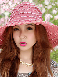 Women Foldable Summer Anti-ultraviolet Brim Shade Wavy Pattern Flowers Cloth Sunscreen Hat