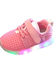 Boys' Athletic Shoes Spring Summer Comfort PU Athletic Casual Flat Heel LED Lace-up Blushing Pink Blue Black