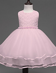 Ball Gown Short / Mini Flower Girl Dress - Lace Satin Tulle Jewel with Bow(s) Pearl Detailing Sash / Ribbon