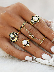 Midi prsteny Prsten Opál Jedinečný design Geometrický kruh Módní Retro Punkový styl Euramerican minimalistický styl Drahokam OpálOval