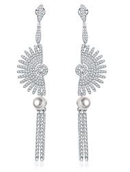 Drop Earrings Hoop Earrings Earrings Set Basic Unique Design Pearl Sterling Silver Zircon Copper Silver Jewelry ForWedding Party Special