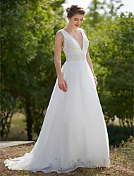 LAN TING BRIDE A-라인 웨딩 드레스 - 글래머&드라마틱 시쓰루 스윕 / 브러쉬 트레인 V-넥 오간자 와 진주 드레이프트