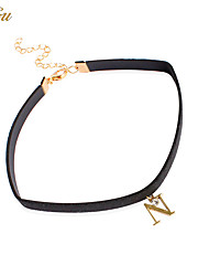 Women's Girls´ Choker Necklaces Pendant Necklaces Collar Necklace Jewelry Single Strand Alphabet Shape Leather AlloyBasic Unique Design