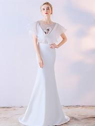 Formální večerní šaty trumpet / mořská panna šperk zametání / kartáč vlak saténové šifon s
