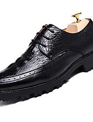 גברים נעלי אוקספורד נוחות PU אביב סתיו שטח עקב שטוח שחור חום כהה בורדו שטוח