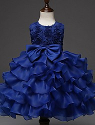 Ball Gown Knee-length Flower Girl Dress - Organza Jewel with Bow(s) Ruffles Cascading Ruffles