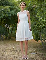 LAN TING BRIDE A-linje Bryllupskjole - Chic og moderne Små Hvide Kjoler Knælang Høj halset Blondelukning med Drapering Bælte / bånd