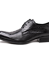 Men's Oxfords Spring Fall Formal Shoes Comfort Novelty Leather Wedding Office & Career Party & Evening Flat Heel Lace-up Coffee Black