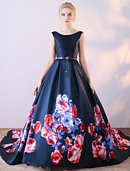 Formal Evening Dress Ball Gown Scoop Court Train Satin Chiffon with Pattern / Print