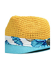 Women Men Summer Shade Stitching Color Straw Sunscreen Holiday Jazz Hollow Couple Hat