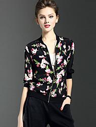 Dames Street chic Lente Zomer Polo,Casual/Dagelijks Bloemen Opstaand Driekwart mouw Polyester Dun