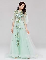 Formal Evening Dress - See Through A-line Jewel Court Train Tulle with Appliques Crystal Detailing Bandage