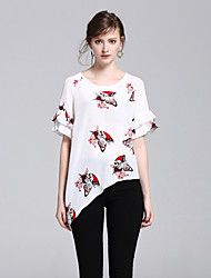T-shirt Da donna Per uscire Casual Semplice Romantico Moda città Estate,Con stampe Rotonda Seta Mezze maniche Sottile