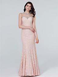 TS Couture ערב רישמי שמלה - שקוף בתולת ים \ חצוצרה עם תכשיטים עד הריצפה תחרה עם פרטים מקריסטל