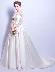 A-라인 웨딩 드레스 빈티지 스타일 코트 트레인 스쿱 새틴 와 레이스