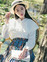 Blusa/Camisa Lolita Clássica e Tradicional Inspiração Vintage Princesa Cosplay Vestidos Lolita Branco Cor Única Vintage Manga Comprida