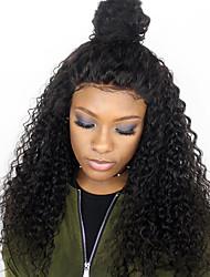 9a grade Menschenhaarspitze vordere Perücken kinky lockig für schwarze Frau 180% Dichte peruanische reine Haar justierbare Spitzeperücken