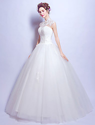 Ball Gown Wedding Dress Vintage Inspired Floor-length High Neck Tulle with Lace